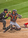 1 April 2013: Miami Marlins catcher Rob Brantly in action during the Opening Day Game against the Washington Nationals at Nationals Park in Washington, DC. The Nationals shut out the Marlins 2-0 to launch the 2013 season. Mandatory Credit: Ed Wolfstein Photo *** RAW (NEF) Image File Available ***