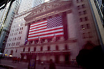 The New York Stock Exchange as seen reflected in a store window Feb. 8, 2008.