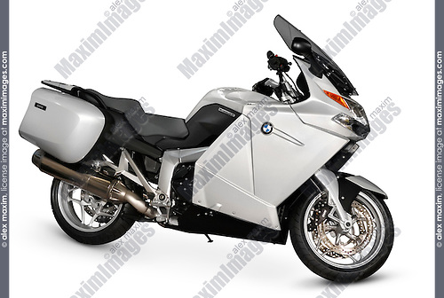 Stock photo of BMW Motorrad K1200 GT 2006 year Modern sport-touring motorcycle Super-sport bike Close-up side view Isolated silhouette with a clipping path over white background