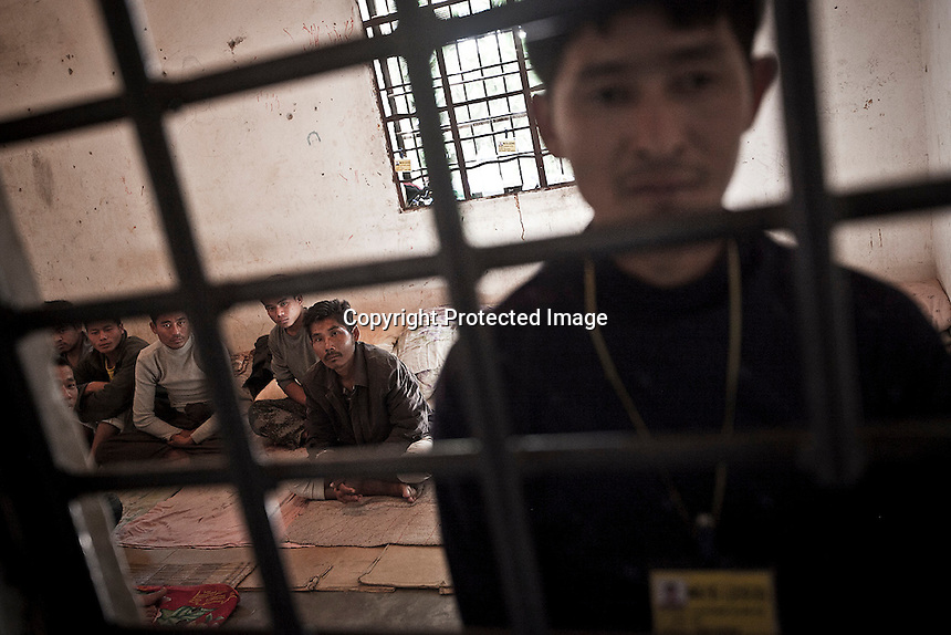 Drug users are kept under custody as they attend a rehabilitation program in the Rehabilitation center in Laiza city. The program has been implemented by KIO as an attmep to helt the smuggling and using of drugs in the Kachin territory under control of the rebel army.