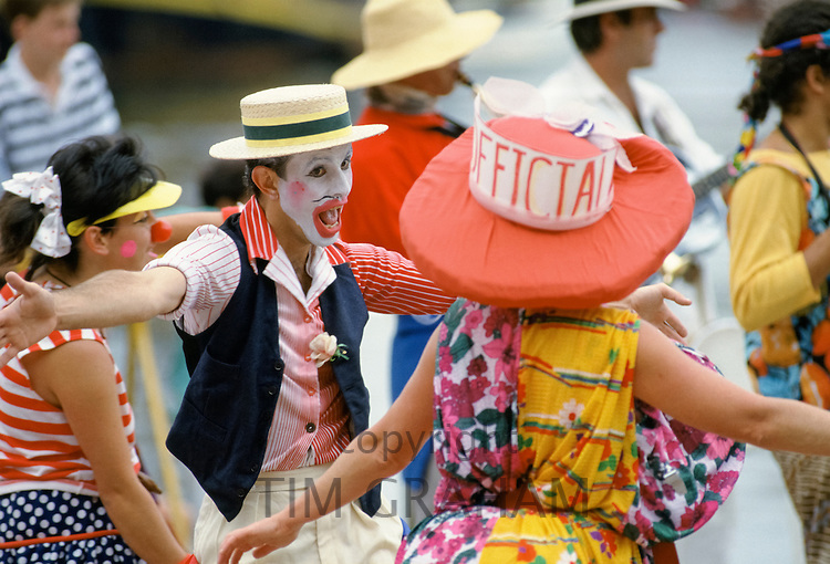 Crowd in costumes for celebrations in Sydney for Australia's Bicentenary,1988