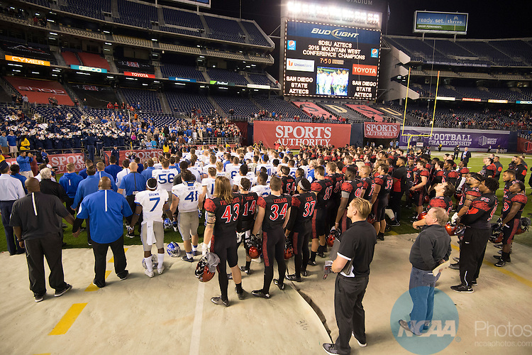 05 DEC 2015:  The 2015 Sports Authority Mountain West Football Championship Game between the Air Force Academy and San Diego State University takes place at Qualcomm Stadium in San Diego, CA. Justin Tafoya/NCAA Photos