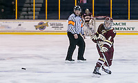 North Andover, Massachusetts - January 15, 2016: NCAA Division I, Hockey East. Boston College (maroon) defeated Merrimack College (yellow/blue), 2-0, at Lawler Rink.