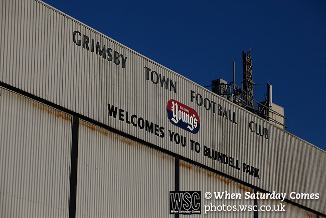 Grimsby Town 1 Lincoln City 3, 28/12/2014. Blundell Park, Football Conference. The Findus Stand at Blundell Park.  Photo by Paul Thompson.