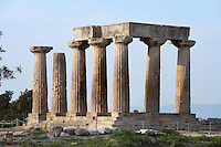 CORINTH, GREECE - APRIL 15 : A general view of the Temple of Apollo, on April 15, 2007 in Corinth, Greece. Standing prominently on a knoll the Temple of Apollo was built in the 7th century BC in the Doric Order. Seven of its original 38 columns remain standing and are seen here in the afternoon light. It is one of the oldest temples in Greece. Corinth, founded in Neolithic times, was a major Ancient Greek city, until it was razed by the Romans in 146 BC. Rebuilt a century later it was destroyed by an earthquake in Byzantine times. (Photo by Manuel Cohen)