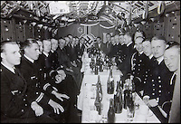 BNPS.co.uk (01202 558833)<br /> Pic: AlexanderHistoricalAuctions/BNPS<br /> <br /> German officers enjoy bottles of beer.<br /> <br /> Fascinating images which provide a snapshot of life on a German U-Boat have been unearthed.<br /> <br /> Interestingly, the photographs give us an insight into joyous occasions on the U-976 destroyer including alcohol fuelled parties and gatherings in the mess hall.<br /> <br /> The photo album which was collated by First Officer Lieutenant Wilhelm Hinrichs has now emerged for auction and is tipped to sell for &pound;1,200.<br /> <br /> The U-976 was sunk on March 25, 1944, just a few months before the Normandy landings, near St Nazaire in France by gunfire from two British Mosquito fighter-bombers.
