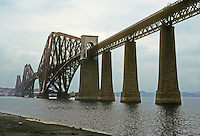 Technology: Scotland--Forth Railway Bridge. Constructed of steel, cantilevered.  Connects Edinburgh and Fife. Sir Benjamin Baker and Allan Stewart designed. Photo '90.