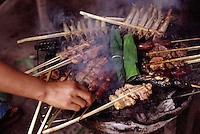 ca. August 1998, Vientiane, Laos --- Various brochettes of meats, sausages and fish in Vientiane, Laos. --- Image by &copy; Owen Franken/CORBIS