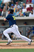 First baseman Dash Winningham (34) of the Columbia Fireflies bats in a game against the Lexington Legends on Sunday, April 23, 2017, at Spirit Communications Park in Columbia, South Carolina. Lexington won, 4-2. (Tom Priddy/Four Seam Images)