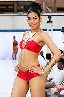 Model walks runway in a Moorscode swimsuit by Moe Moorscode, during the JRG Bikini Under The Bridge 2012 fashion show on July 9, 2012.