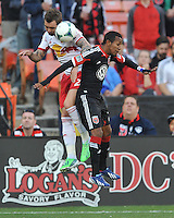 Marcos Sanchez (25) of D.C. United goes against Jonny Steele of The New York Red Bulls (22) The New York Red Bulls defeated D.C. United  2-0, at RFK Stadium, Saturday April 13, 2013.