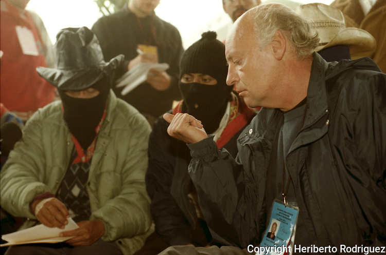 Uruguayan writer and journalist Edaurdo Galeano attends the Zapatista Intergalactica gathering in the stronghold of Oventic, in southern Chiapas state, July 27, 1996. The Zapatista rebels gathered with intellectuals, journalist, writers and artists in the strongholds of Oventic and La Realidad durigna Forum in Defense of Humanity and Against the Neo-liberalism. . Photo by Heriberto Rodriguez
