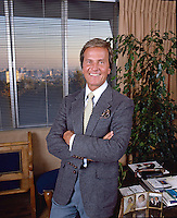Actor and singer Pat Boone in his Beverly Hills office, 1985. Photo by John G. Zimmerman
