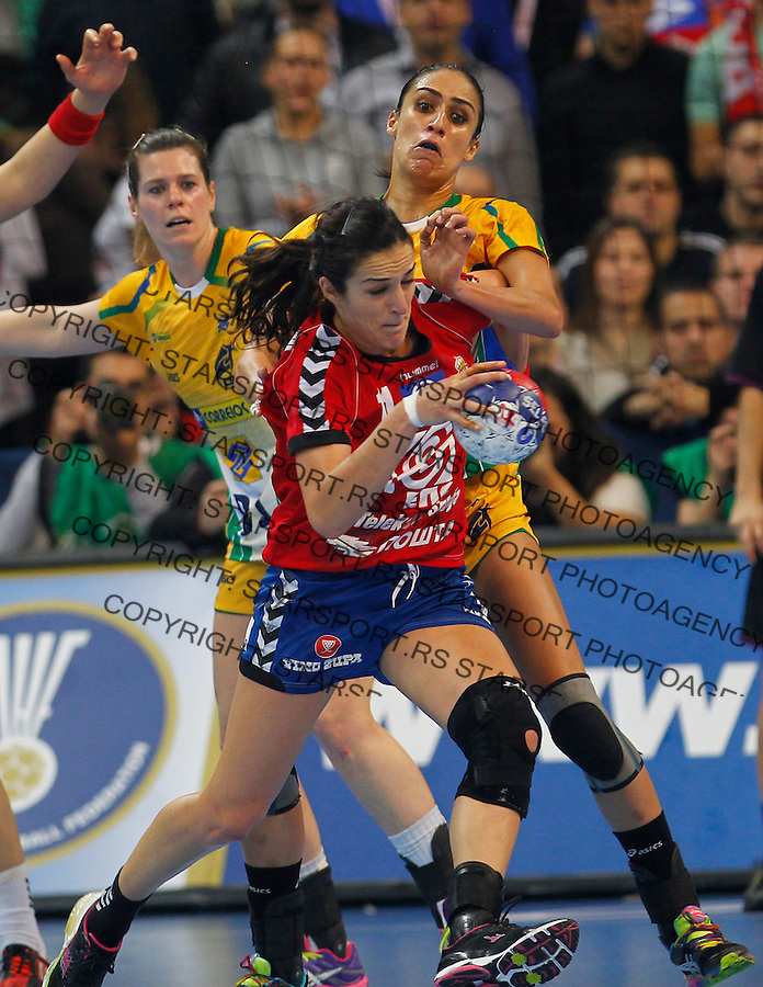 SERBIA, Belgrade: Serbia's Sanja Damnjanovic during Women's World Handball Championship final match between Brazil and Serbia in Belgrade, Serbia on Sunday, December 22, 2013. (credit image & photo: Pedja Milosavljevic / STARSPORT / +318 64 1260 959 / thepedja@gmail.com)