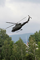 (Oslo July 23, 2011) Prime Minister Jens Stoltenberg leaves in helicopter from Sundvollen, near Ut&oslash;ya, the day after a shooting spree by a lone gunman who killed over 80 youths at a political camp.  <br />