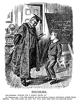 """Disipline. Carl Hapsburg. """"Please, Sir, I didn't write it."""" Dr Hohenzollern. """"For the credit of the school I shall publicly accept your denial. All the same, my boy, you will now step into my private room."""" (Karl von Hapsburg as a schoolboy writes France Ought To Have Alsace-Lorraine on the blackboard as Wilhelm II prepares to cane him during WW1)"""