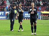 FUSSBALL   1. BUNDESLIGA  SAISON 2011/2012   23. Spieltag FC Augsburg - Hertha BSC Berlin          25.02.2012 Roman Hubnik (li,) Nikita Rukavytsya  (Hertha BSC Berlin) (Hertha BSC Berlin)
