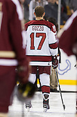 Greg Gozzo (Harvard - 17) - The Boston College Eagles defeated the Harvard University Crimson 4-1 in the opening round of the 2013 Beanpot tournament on Monday, February 4, 2013, at TD Garden in Boston, Massachusetts.