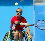 H&eacute;l&egrave;ne Simard, de Baie Comeau. tennis en double &agrave; Ath&egrave;nes.<br /> (Benoit Pelosse photographe,)