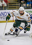 10 February 2017: University of Vermont Catamount Defenseman Trey Phillips, a Junior from Okotoks, Alberta, in first period action against the University of New Hampshire Wildcats at Gutterson Fieldhouse in Burlington, Vermont. The Catamounts fell to the Wildcats 4-2 in the first game of their 2-game Hockey East Series. Mandatory Credit: Ed Wolfstein Photo *** RAW (NEF) Image File Available ***