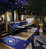 Custom mosaic floor medallions at Argosy Casino Kansas City, Missouri dining area