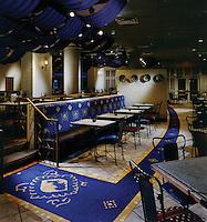 Custom mosaic floor medallions at Argosy Casino Kansas City, Missouri dining area