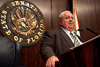 TALLAHASSEE, FL. 5/16/03-Senate President Jim King, R-Jacksonville, tells the Senate that negotiations on the budget and other major bills are moving forward Friday during session at the Capitol in Tallahassee. COLIN HACKLEY PHOTO