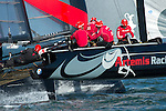 Artemis Racing in the first official practice race for the San Francisco America's Cup World Series regatta. 2/10/2012