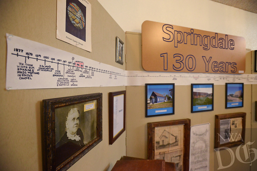 NWA Democrat-Gazette/BEN GOFF @NWABENGOFF<br /> A display of historical items and photos commemorates the 130th anniversary of the congregation on Friday May 20, 2016 at Springdale Adventist Fellowship.