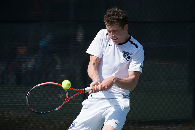 April 27, 2013; San Diego, CA, USA; BYU Cougars player Francis Sargeant during the WCC Tennis Championships at Barnes Tennis Center.