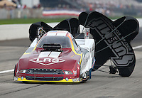 Aug 30, 2014; Clermont, IN, USA; NHRA funny car driver Tim Wilkerson during qualifying for the US Nationals at Lucas Oil Raceway. Mandatory Credit: Mark J. Rebilas-USA TODAY Sports