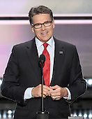 Former Governor Rick Perry (Republican of Texas) makes remarks at the 2016 Republican National Convention held at the Quicken Loans Arena in Cleveland, Ohio on Monday, July 18, 2016.<br /> Credit: Ron Sachs / CNP<br /> (RESTRICTION: NO New York or New Jersey Newspapers or newspapers within a 75 mile radius of New York City)