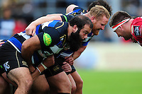 Kane Palma-Newport of Bath Rugby prepares to scrummage against his opposite number. Pre-season friendly match, between the Scarlets and Bath Rugby on August 20, 2016 at Eirias Park in Colwyn Bay, Wales. Photo by: Patrick Khachfe / Onside Images