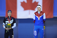 SPEEDSKATING: CALGARY: 15-11-2015, Olympic Oval, ISU World Cup, Podium 1500m Men, Bart Swings (BEL), Denis Yuskov (RUS), ©foto Martin de Jong