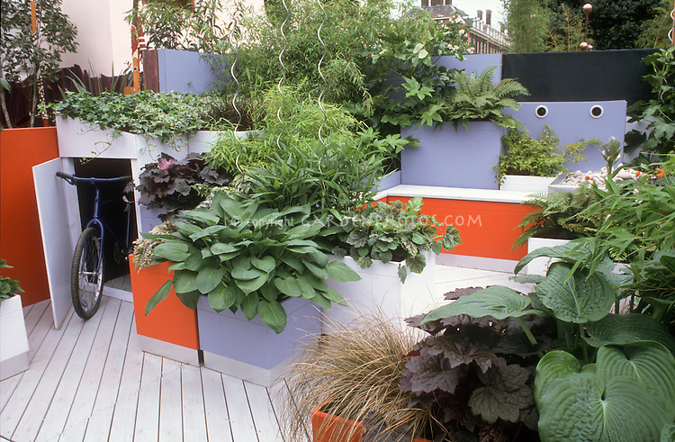 Container Deck Design with moveable pots, foliage plants, hidden bicycle storage shed, hostas, grasses, blue and orange benches, pots, walls