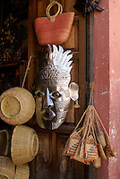 Mexican handicrafts in a shop in the 19th century mining town of Mineral de Pozos, Guanajuato, Mexico                .