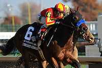 Secret Circle, ridden by jockey Rafael Bejarano and trained by Bob Baffert wins the Sentient Jet Breeders' Cup Juvenile Sprint at Churchill Downs in Louisville, Kentucky on November 4, 2011.