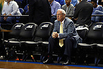 14 March 2015: UNC head coach Roy Williams watches Notre Dame warm up before the game. The Notre Dame Fighting Irish played the University of North Carolina Tar Heels in an NCAA Division I Men's basketball game at the Greensboro Coliseum in Greensboro, North Carolina in the ACC Men's Basketball Tournament quarterfinal game. Notre Dame won the game 90-82.