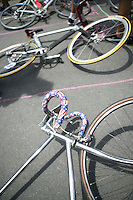 3 July 2005 - Jersey City, NJ, USA - Bikes lie on the starting grid ahead of the final race of the 13th annual cycle messenger world championships, Jersey City, USA, July 2nd 2005. More than 700 riders from all over the world took part in the 4-day competition which carries event based on the daily work of a city bike messenger.
