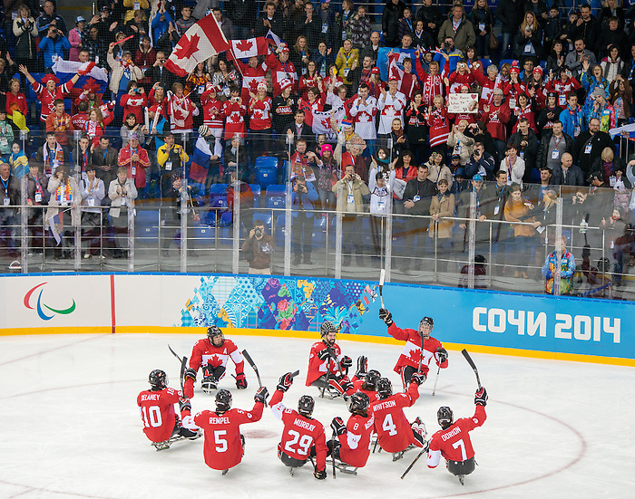 Sochi, RUSSIA - Mar 15 2014 - Canada wins the bronze medal after defeating Norway in Sledge Hockey  at the 2014 Paralympic Winter Games in Sochi, Russia.  (Photo: Matthew Murnaghan/Canadian Paralympic Committee)