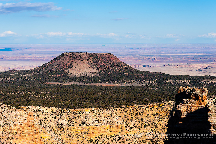United States, Arizona, Grand Canyon. Desert View is the first lookout when arriving from the east. A lot of the panorama here also includes a view of the Painted Desert and Cedar Mountain.