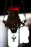 Sanctuary lamp in the 10th century Byzantine chapel of Agios Stefanos, Drakona, Crete, Greece 10th century Byzantine chapel of Agios Stefanos, Drakona, Crete, Greece