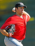 2 July 2011: Tri-City ValleyCats pitcher Garrett Bullock tosses in the bullpen prior to a game against the Vermont Lake Monsters at Centennial Field in Burlington, Vermont. The Monsters rallied from a 4-2 deficit to defeat the ValletCats 7-4 in NY Penn League action. Mandatory Credit: Ed Wolfstein Photo
