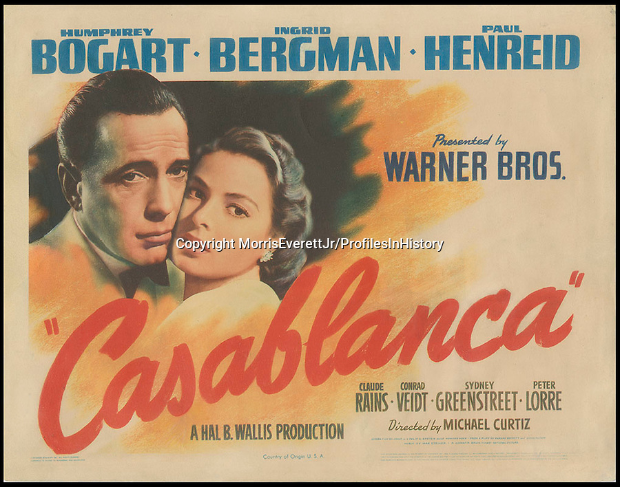 BNPS.co.uk (01202 558833)<br /> PIc: MorrisEverettJr/ProfilesInHistory/BNPS<br /> <br /> ***Please Use Full Byline***<br /> <br /> Casablanca (1942). <br /> <br /> The world's largest collection of movie posters boasting artwork from almost every single film made in the last century has emerged for sale for &pound;5 million.<br /> <br /> The colossal archive features 196,000 posters from more than 44,000 films, and has been singlehandedly pieced together by one avid collector over the last 50 years.<br /> <br /> Morris Everett Jr has dedicated his life's work to seeking out original posters from every English-speaking film ever made and compiling them into a comprehensive library.<br /> <br /> The sale is tipped to make $8 million - around &pound;5 million pounds - when it goes under the hammer in one lot at Califonia saleroom Profiles in History on December 17.