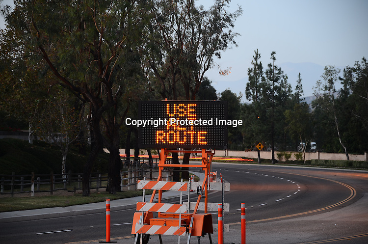 Stock photo of a traffic warning sign