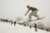 Israelis play in the snow in the Saker Park in Jerusalem. January 10, 2013. Photo by Oren Nahshon