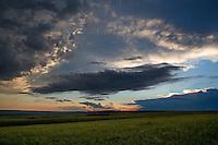 Grasslands prairie sunset as seen from on top of a butte