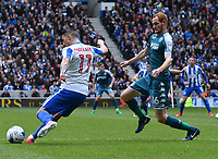 Brighton &amp; Hove Albion's Anthony Knockaert (L) and Wigan Athletic's Shaun MacDonald (R) in action in todays match.<br /> <br /> <br /> Brighton 2 - 1 Wigan<br /> <br /> Photographer David Horton/CameraSport<br /> <br /> The EFL Sky Bet Championship - Brighton &amp; Hove Albion v Wigan Athletic - Monday 17th April 2017 - American Express Community Stadium - Brighton<br /> <br /> World Copyright &copy; 2017 CameraSport. All rights reserved. 43 Linden Ave. Countesthorpe. Leicester. England. LE8 5PG - Tel: +44 (0) 116 277 4147 - admin@camerasport.com - www.camerasport.com