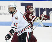 Brodie Reid (Northeastern - 15), Patch Alber (BC - 27) - The Northeastern University Huskies defeated the visiting Boston College Eagles 2-1 on Saturday, February 19, 2011, at Matthews Arena in Boston, Massachusetts.