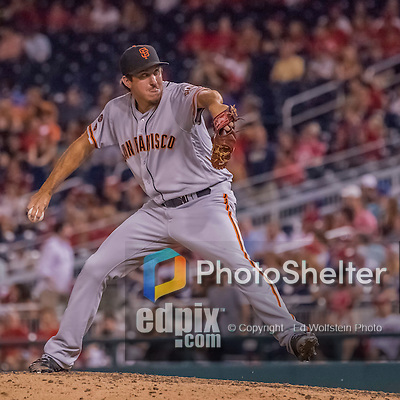 6 August 2016: San Francisco Giants pitcher Derek Law on the mound against the Washington Nationals at Nationals Park in Washington, DC. The Giants defeated the Nationals 7-1 to even their series at one game apiece. Mandatory Credit: Ed Wolfstein Photo *** RAW (NEF) Image File Available ***